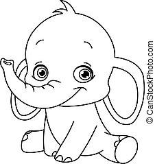 niemowlę, konturowany, słoń