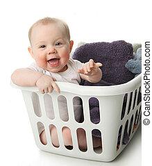 niemowlę, kosz, pralnia