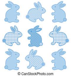 niemowlę, króliki, kropkuje, duży parasol, polka