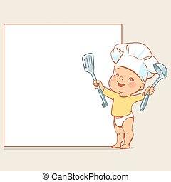 niemowlę, mistrz kucharski, mały, chorągiew