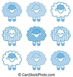 niemowlę, pastel, błękitny, patchwork, jagnięta