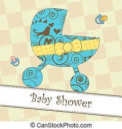 niemowlę przelotny deszcz, przybycie, albo, karta