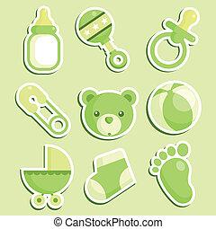 niemowlę przelotny deszcz, zielony, ikony