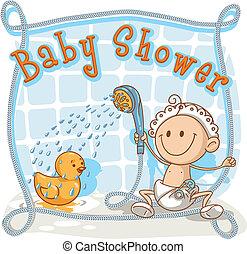 niemowlę, rysunek, przelotny deszcz, zaproszenie
