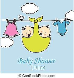niemowlę, shower., dwojaczki