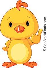 niemowlę, sprytny, kurczak, żółty