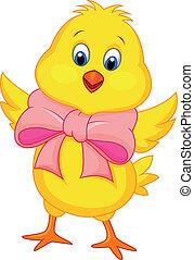 niemowlę, sprytny, kurczak, rysunek