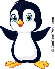 niemowlę, sprytny, pingwin