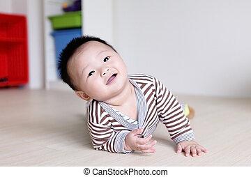 niemowlę, sprytny, sprawdzić, naprzód