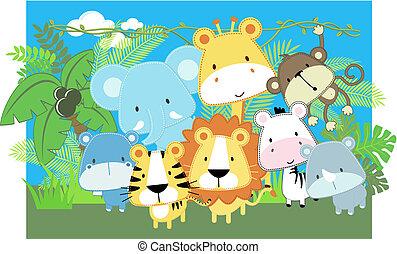 niemowlę, wektor, zwierzęta, safari