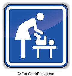 niemowlę, wymiana, wektor, ikona