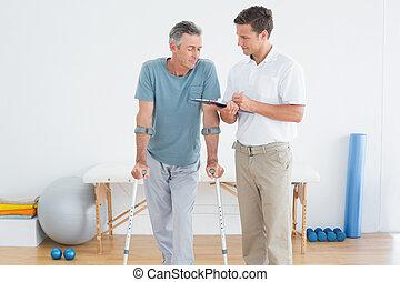 niepełnosprawny, dyskutując, terapeuta, pacjent, informuje