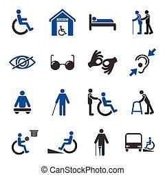 niepełnosprawny, komplet, ikony