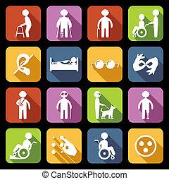 niepełnosprawny, płaski, komplet, ikony