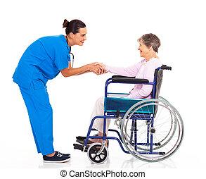 niepełnosprawny, senior, pacjent, pielęgnować, powitanie