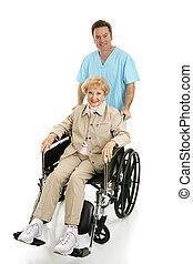 niepełnosprawny, &, senior, pielęgnować