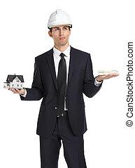 nieruchomość, dom, dolary, przedstawiciel, siła robocza, wzór