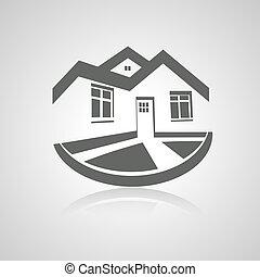 nieruchomość, dom, symbol, nowoczesny, sylwetka, wektor, nieruchomość, ikona, logo, dom