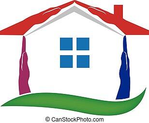 nieruchomość, dom, wektor, siła robocza, logo