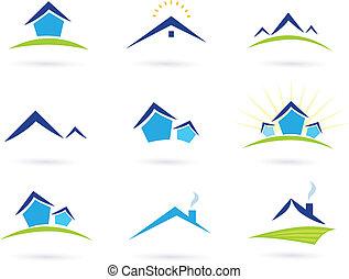 nieruchomość, ikony, /, domy, logo