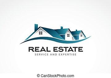 nieruchomość, ilustracja, domy, wektor, logo.