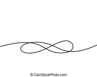 nieskończoność, rysunek, symbol., ciągły, kreska, ikona