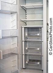 niesplamiony, biały, refrigerator., otwarty, podwójcie się drzwi, prospekt, stal, bok, opróżniać