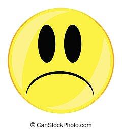 nieszczęśliwy, guzik, uśmiech, twarz, odizolowany