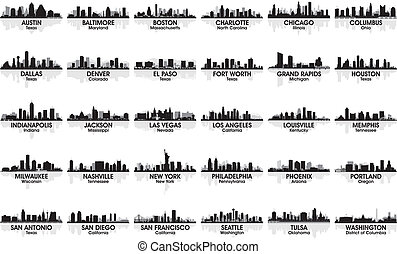 niewiarygodny, skyline., 30, cities., usa, komplet, miasto