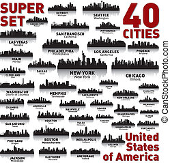 niewiarygodny, stany, zjednoczony, set., sylwetka na tle nieba, miasto, america.