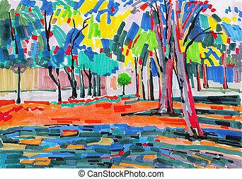 niezwykły, drzewo, markier, malarstwo, oryginał, krajobraz