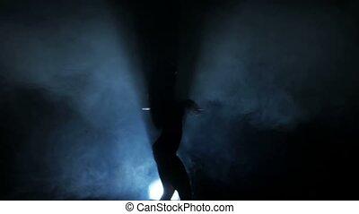 nightclub, sylwetka, kobieta taniec