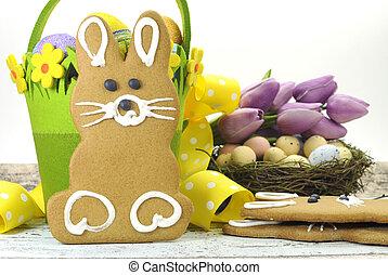 nikczemny, tulipany, kosz, gniazdo, zielony, żółty, królik, jaja, tło., temat, drewno, cookie, cukierek, pumpernikiel, szykowny, biały, szczęśliwa wielkanoc, ptaszki, wapno