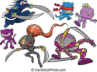 ninja, cyborg, komplet, robotic, wojownik