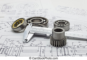 nośny, gear., suwmiarka, vernier, mechaniczny, mały, układ, leżący