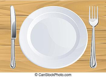 nożownictwo, stół, drewniany, płyta