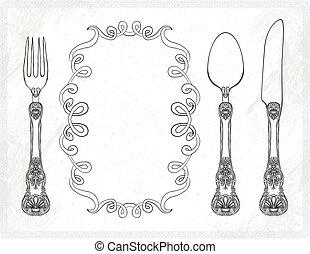 nożownictwo, wektor, widelec, nóż, łyżka