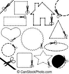 nożyce, różny, cięcie, kreska