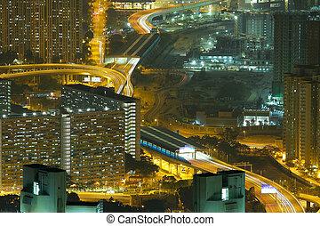 noc, antena, prospekt miasta