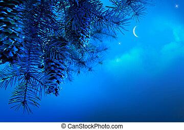 noc, gałąź, drzewo, błękitne niebo, sztuka, tło, boże narodzenie