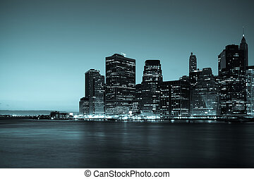 noc, manhattan, panoramiczny, -, prospekt, sylwetka na tle nieba, york, nowy
