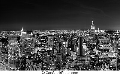 noc, manhattan skyline, miasto, york, nowy