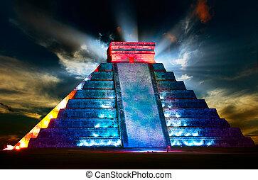 noc, mayan, piramida, itza, prospekt, chichen