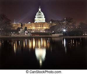 noc, na, waszyngton, odbicie, dc, kapitol