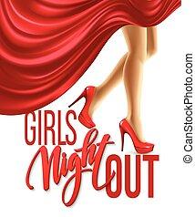 noc, wektor, dziewczyna, design., ilustracja, poza, partia