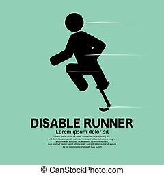 noga, ikona, czarnoskóry, wektor, illustration., tło, niepełnosprawny, zielony, biegacz, symbol