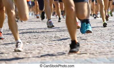 nogi, pół, wyścigi, maraton, atleci