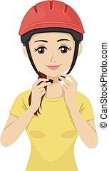 nosić, naście, bezpieczeństwo, ilustracja, hełm, dziewczyna