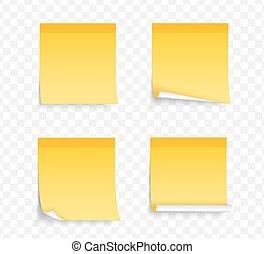 notatki, żółty, lepki