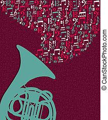 notatki, bryzg, muzyka, tuba, ilustracja